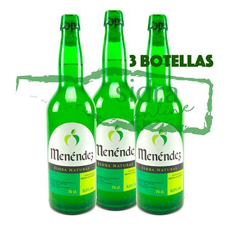 Tres botellas de sidra Menéndez